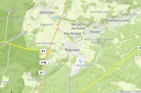 Karte Lüneburger Heide Und Umgebung.Lüneburger Heide
