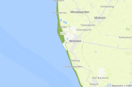 Karte Nordseeküste Niedersachsen.Nordsee
