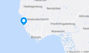 Karte der Region um Die Strandvielfalt von Westerdeichstrich