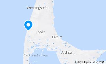 Karte der Region um Westerland Zentralstrand